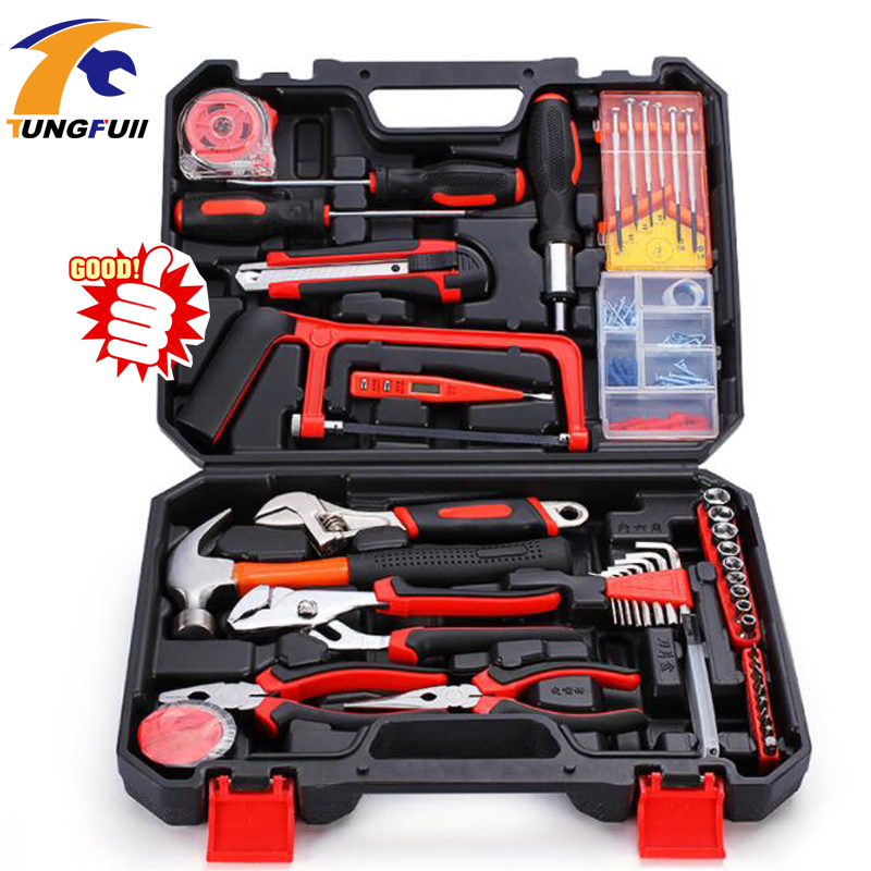 Tungfull Home Repair Tools Set Screwdrivers Bits Set Pliers Sockets Spanner Wrench Saw Hammer Household Tool Kits Hand Tools Box free shipping 9pc stock hand tool set wrench screwdrivers sockets plier conjunto de ferramenta manual motorcycle repair tool kit