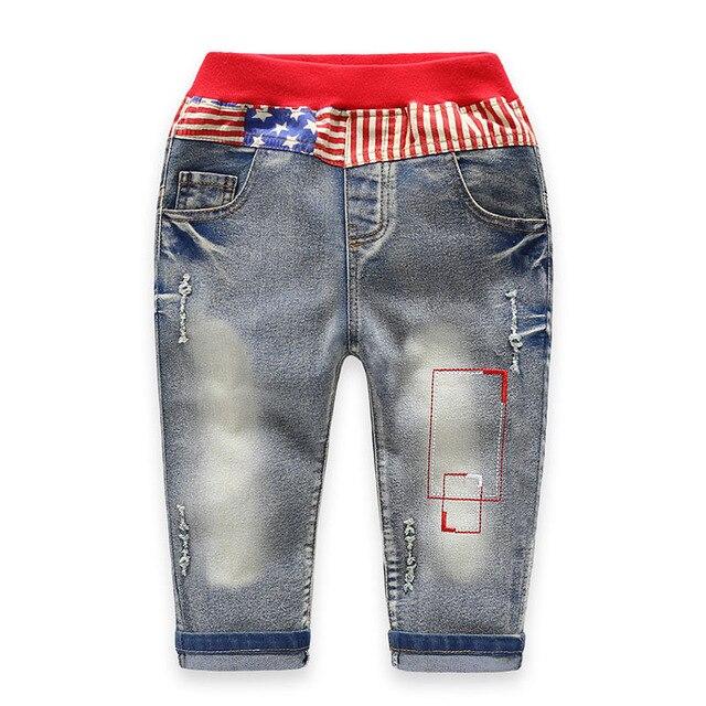 Top Quality 3-10T Boys Ripped Jeans Cotton Pantalon Hiver Garcon Elastic Waist Jeans Garcon Denim Infantil Menino Jungen 2017
