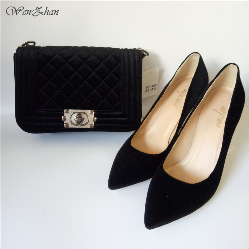 WENZHAN Latest Shoes Matching Bags Black Flannelette Material For Daily Use,High Heel Shoes With Shoulder Bag Size36-43 712-25 wenzhan latest shoes matching bags lemon green flannelette material for wedding high heel shoes with appliques bag hot a711 28