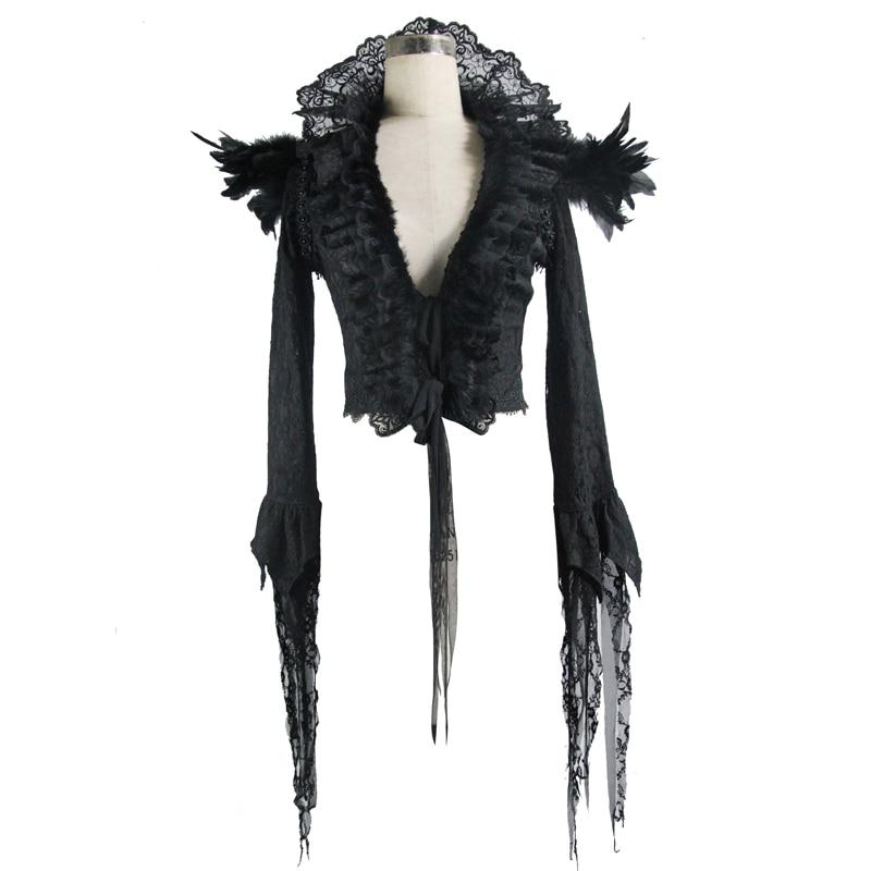 Manteau Et Gothique D'hiver Partie Stand Dentelle Veste Automne De Courte Dames Plume Plis D'épaule Noir Col Black Cour Nouveau ZdqwETE