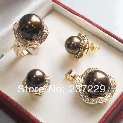 FREE shipping^^^^Beautiful Chocolate shell pearl yellow gold jewelery set