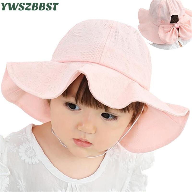New Baby Summer Hat Outdoor Baby Girl Sun Hat with Bowknot Cotton Baby Caps Children Beach Big Brim Sun Hat Kids Bucket Cap