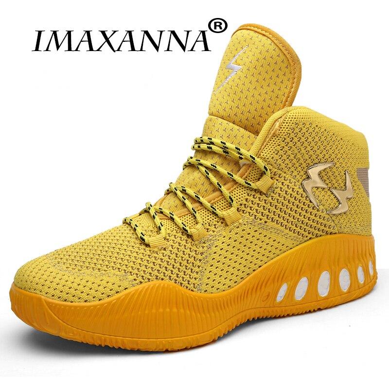Chaussures de basket-ball haut IMAXANNA hommes respirant maille baskets d'extérieur Cool or chaussures de coussin athlétique basket-ball bottes de Sport