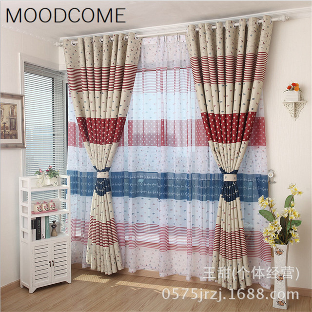 Mediterranean Striped Full Shading Curtain Cloth Childrens Room Simple Supply Curtains For Living Dining