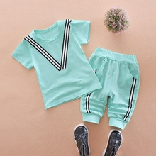 WYNNE GADIS Summer Baby Boys Short Sleeve Cotton Striped T-shirt Tops + Casual Pants Kids Two Pieces Suits Girls Clothing Sets