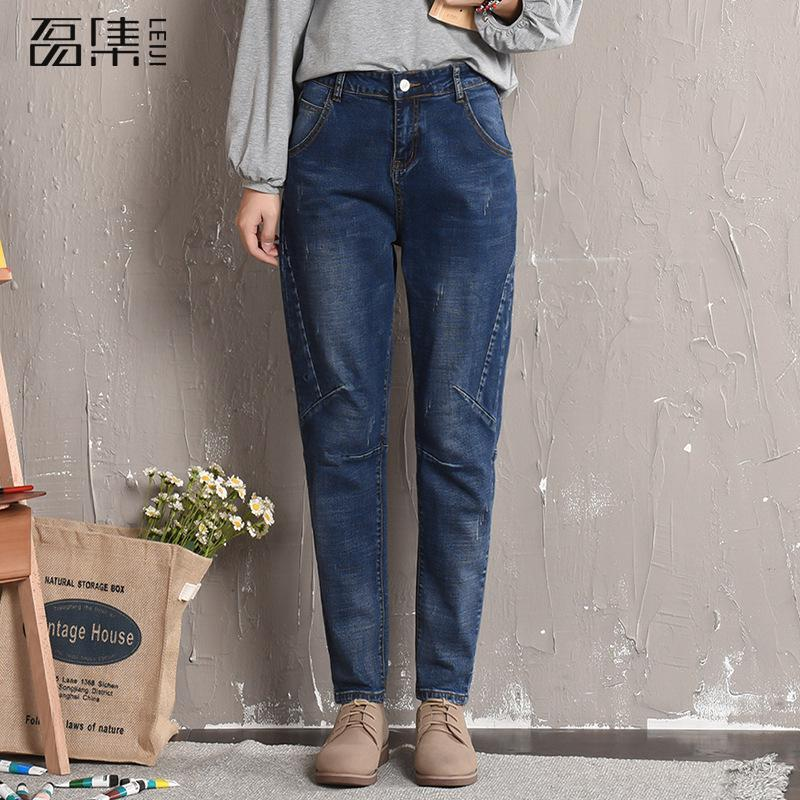 Boyfriend Jeans For Women  Ripped   High Waist  Plus Size  Loose Denim Femme Ankle-length  Pant   100kg