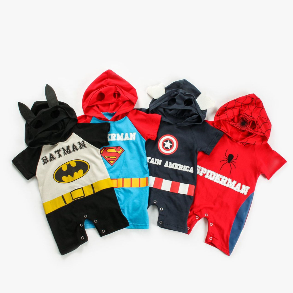 Kids Superman Clothes Outfit Baby Boy Superhero   Rompers   Costume Cotton Short Sleeve Hoodies Jumpsuit 0-18 Month Dress Up Clothes