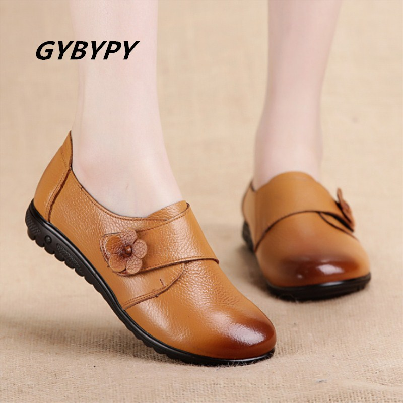 21966c803e4c7 Shoes woman Autumn new fashion simple real cow leather women shoes Sell  well flat-bottom large size casual ladies single shoes