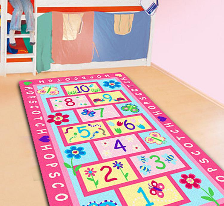 pink kids rug with hopscotch game baby crawling mat girls best loved rug tapete carpet and. Black Bedroom Furniture Sets. Home Design Ideas