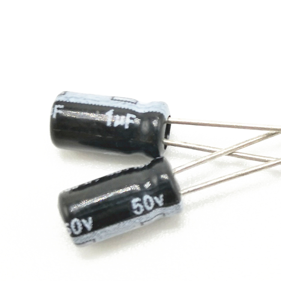 60pcs/lot 50V 1UF 4*7 High Frequency Low Impedance Aluminum Electrolytic Capacitor 1uf 50V 20%
