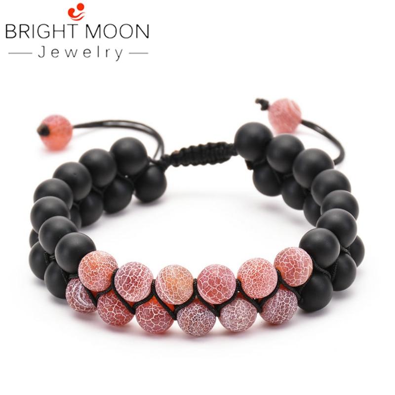 BRIGHT MOON  Black Stone Bracelet Adjustable Couple Handmade Pink for Women Men
