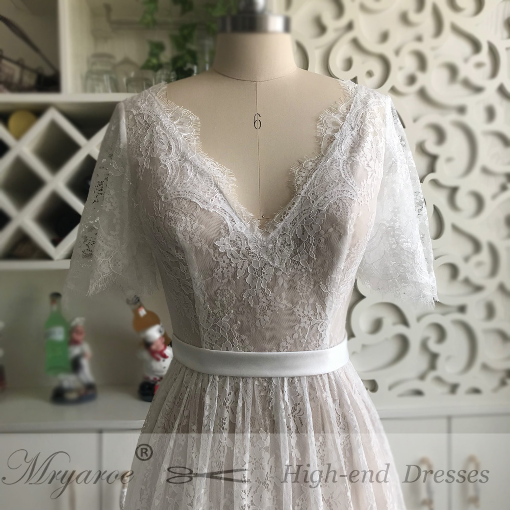 Mryarce New Arrival Flare Sleeves Lace Bohemian Garden Wedding Dress V Neck A Line Open Back Boho Bridal Gowns