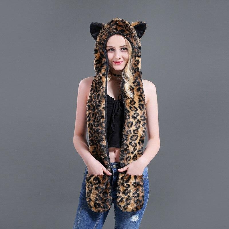 New Brand European And American Fashion Hat Scarf Gloves One Animal Hat Faux Fur Hat Plush Cartoon Big Leopard NV074