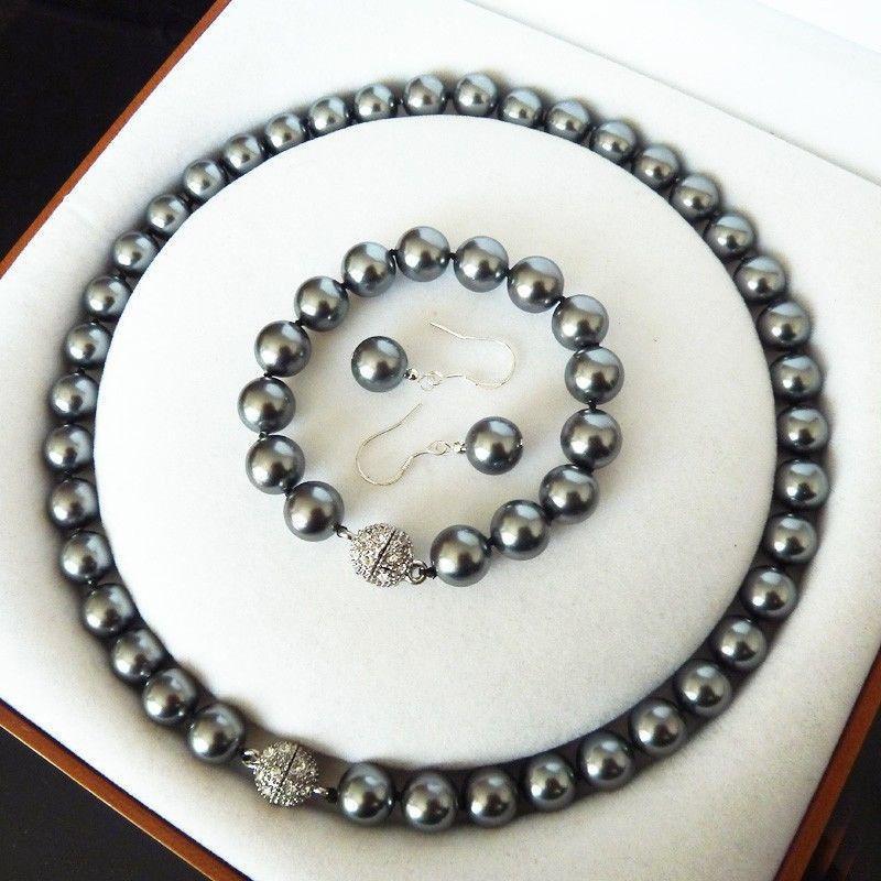 8mm AAA Dark Green Shell Pearl necklace Bracelet Earring Set