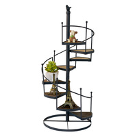 Living Room Staircase Flower Storage Rack Europe Simple Iron Holder Wall Hanging Potted Ornaments Shelf Hook Fashion Decorations