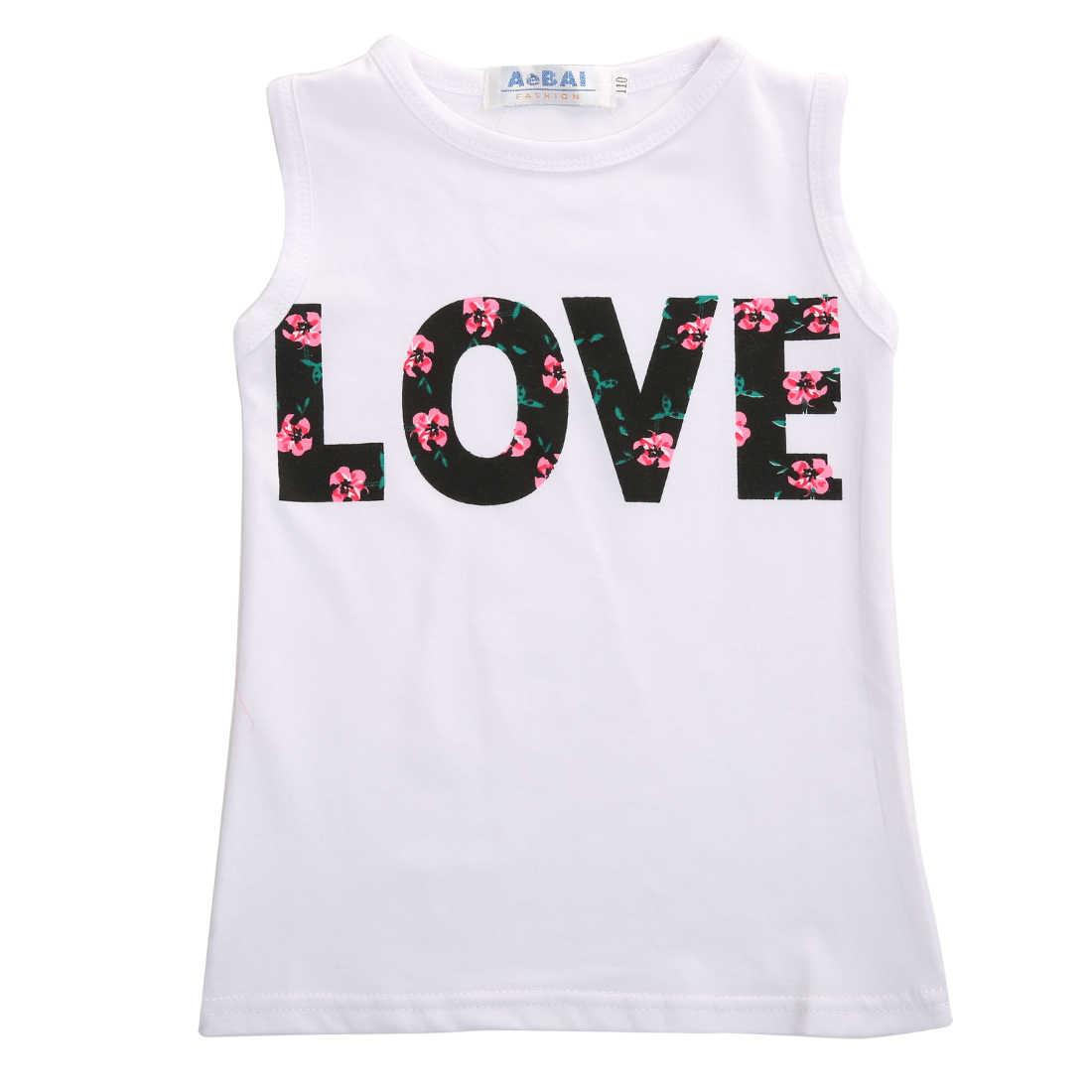 Новый Модный комплект одежды для маленьких девочек майка с буквенным принтом топы, футболка + юбка с цветочным принтом, комплект одежды