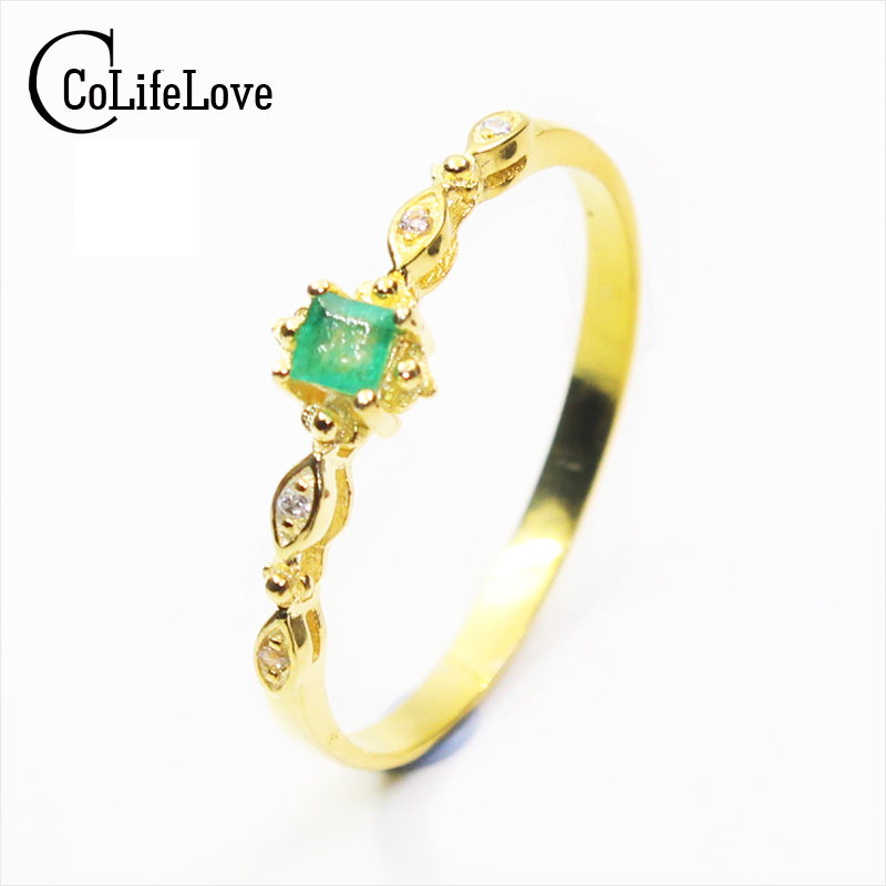 CoLife Jewelry fashion emerald ring 3 mm * 3 mm natural SI grade emerald sivler ring solid 925 silver emerald engagement ring