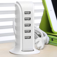 Travel Portable 5 Port 40W 5V 8A USB Wall Power Charger Adapter Intelligent Distribution IC Multiple Devices For ipad Tablets PC