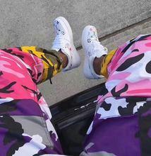 2017 моды Брюки-Карго мужчины розовый желтый камуфляж брюки мужчины высокого качества США размер Свободные Хип-Хоп Штаны Повседневные брюки
