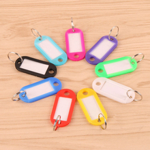 10Pcs Plastic Keychain Key Tags Id Label Name Tags With Split Ring For Baggage Key Chains Key Rings