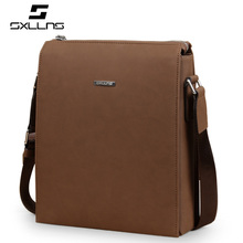 Vintage Casual Leather Zipper Light Brown Male Bags Design High Quality Famous Sxllns Brand Men Shoulder Crossbody Bags