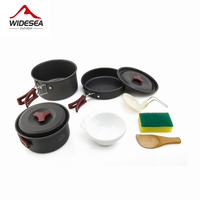 Outdoor Camping Hiking Cookware Tableware Picnic Backpacking Cooking Bowl Pot Pan Cooker Set 2 3 People