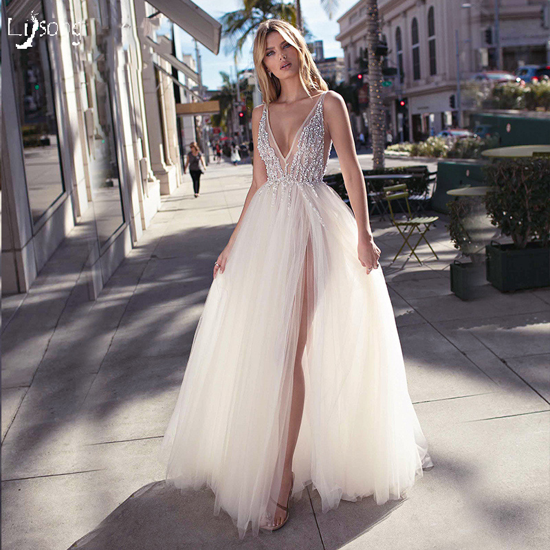 Summer White Tulle Beaded Women Prom Dress Sexy Beach High Leg Split Party Maxi Gowns Occasion Dresses abendkleid abito da se