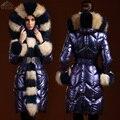 Clothing fashion 2016 winter jacket women parka de pluma de ganso abajo cubre espesamiento delgado cuello de piel medio-largo de las mujeres de plumas de ganso
