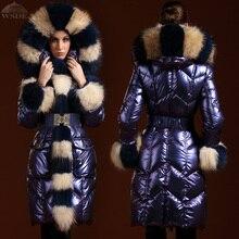 Duvet d'oie vêtements mode 2016 veste D'hiver femmes parka vers le bas manteau mince col de fourrure épaississement de moyen-long femmes duvet d'oie