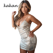 Kakan 2019 summer new womens sequin dress (Ganelli) sexy shiny club party