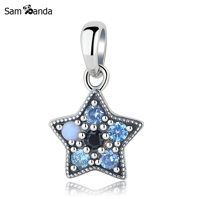 New 925 sterling silver charms beads blue star dangle pendant blue new 925 sterling silver charms beads blue star dangle pendant blue cz crystal fit pandora bracelets aloadofball Gallery