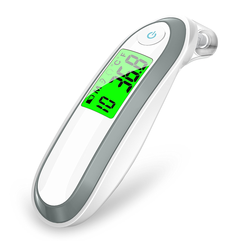Thermomètre auriculaire et frontal thermomètre infrarouge médical numérique pour bébé enfants et adultes Fahrenheit et Celsius Converti