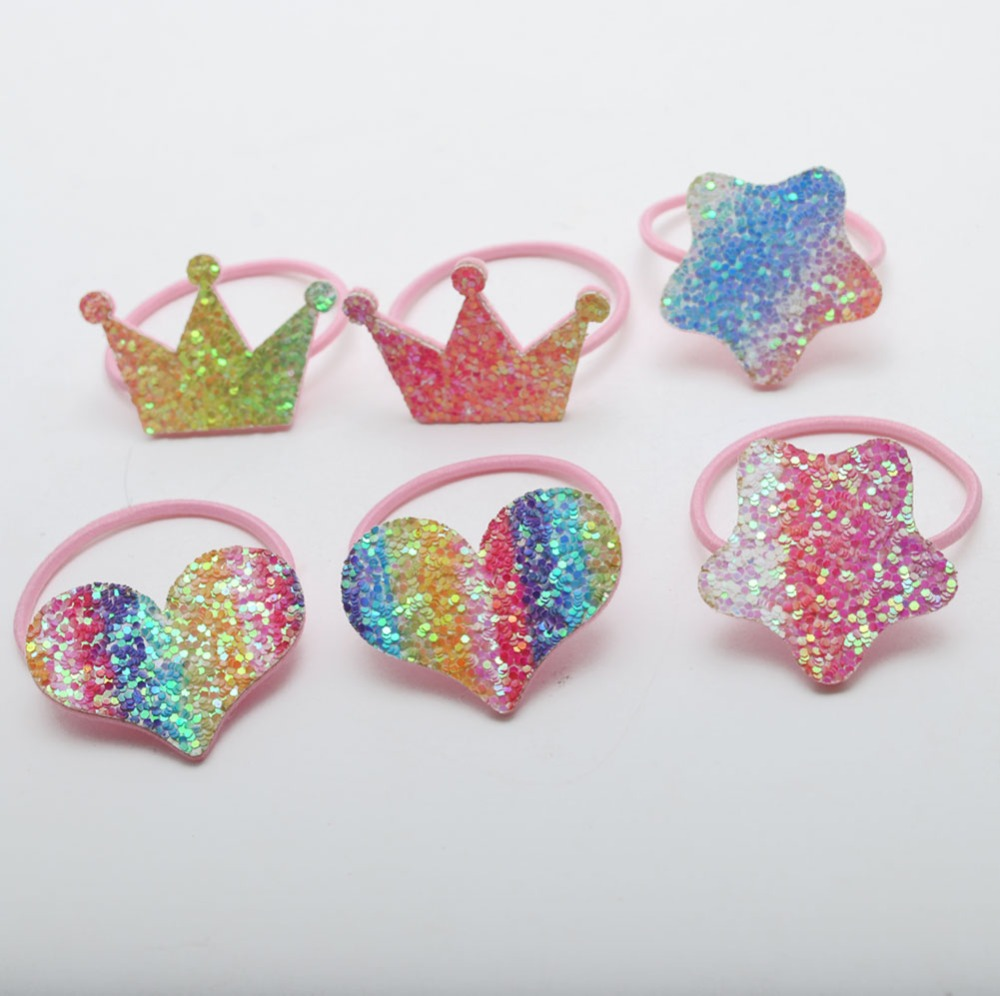 New Girls Hair Scrunchies Rainbow Crown Elastic Hair Bands Heart Hair Accessories  Girls Fashion Gift  For Birthday  Party