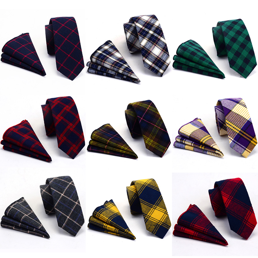 RBOCOTT Cotton Necktie Handkerchief Set Mens 6cm Slim Ties Pocket Square Casual Printed Plaid Striped Tie Skinny For Man Wedding
