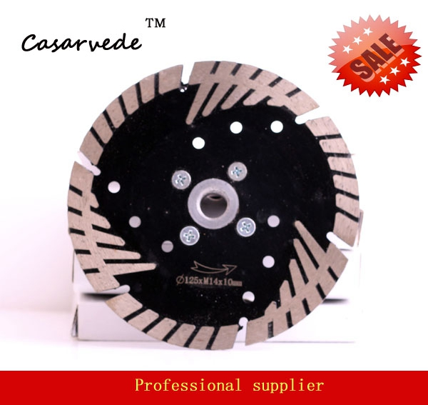 Free Shipping Flange Arbor M14 D125mm Segmented Bevel Turbo Dry Cutting Blade For Stone
