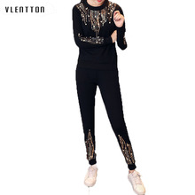 High quality women set 2018 tracksuit elegant beading tracksuits long sleeve tops and pants 2 piece suit