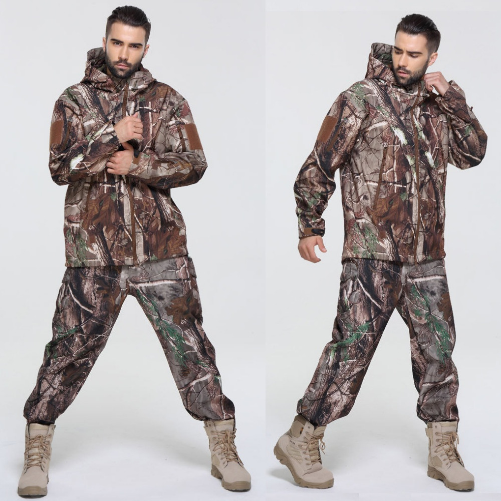 Men Winter Military Outdoor Water-resistant Hunting Suits Camouflage Hunting Clothes Male Hoody Jacket Coat Windbreaker Pants