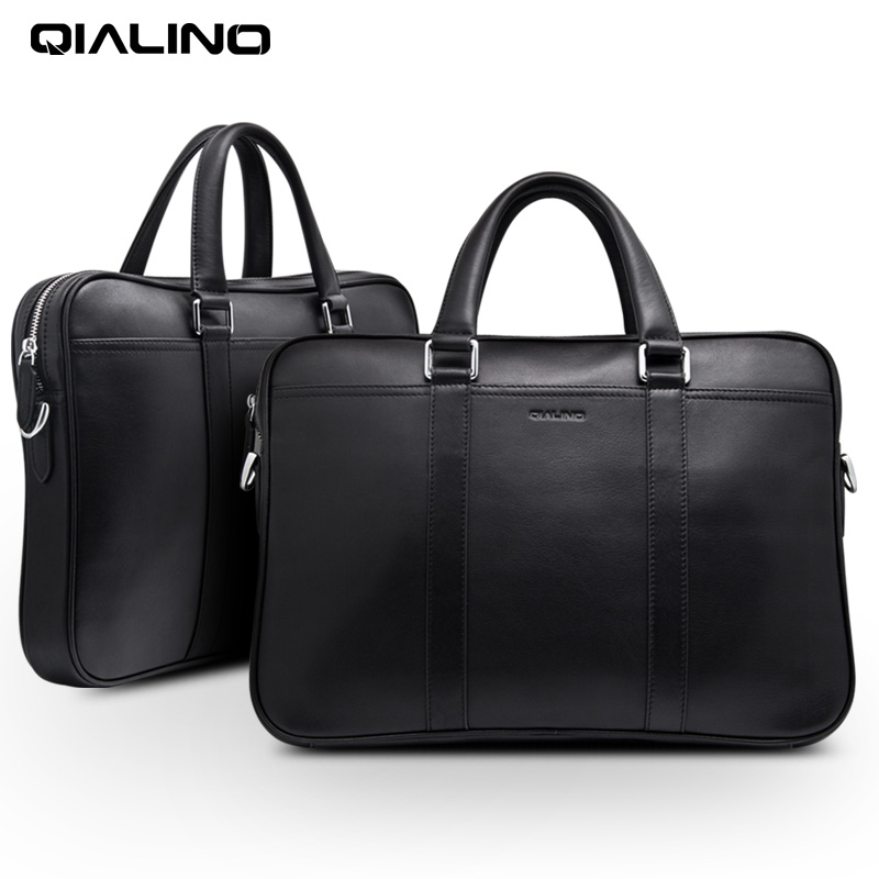 QIALINO Genuine Leather Laptop Bag Case For 13 14 15 Inch Case For Macbook Air Pro