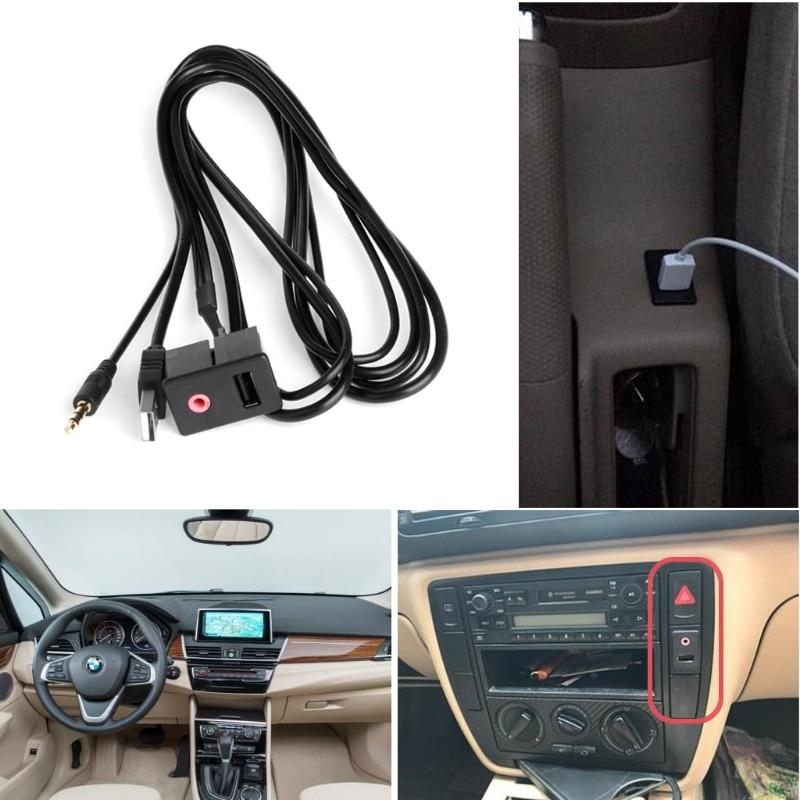 OOTDTY Car 3.5mm USB AUX Headphone Male Jack Flush Mount