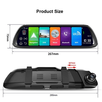 10 Inch Android 8.1 4G Rearview Mirror Car Dvr Camera Gps Navigator Bluetooth Music Wifi Hd 1080P Streaming Video Recorder