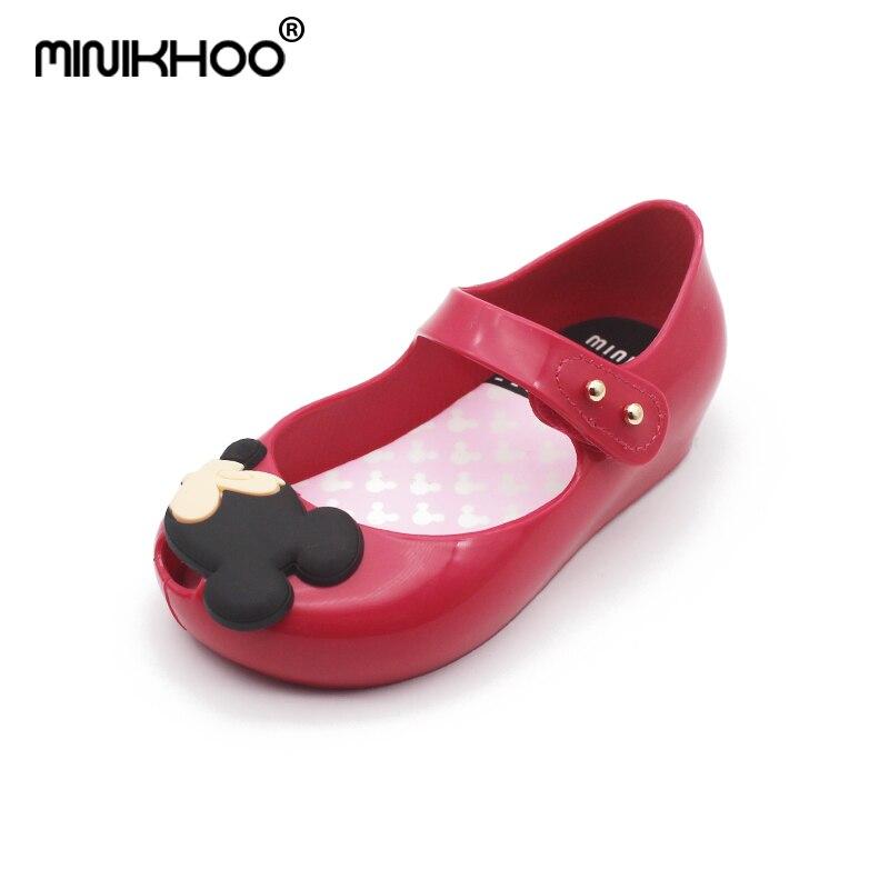 Mini Melissa 4 Color Mickey & Minnie Cartoon Girls Jelly Sandals 2018 New Girls Melissa Jelly Sandals Baby Toddler Sandals