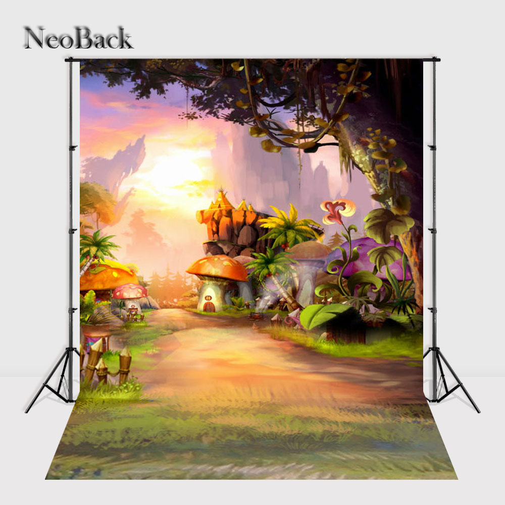 NeoBack 5x7ft Newborn Baby Photo Studio Backgrounds Children Fairy Tale Fantasy Mushroom Scenic Photography Backdrops P0028 photo background 5x7ft fairy tale mushroom house photography backdrop studio props for children