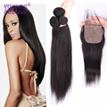 8A Silk Base Closure with Bundles 3 Pcs Unprocessed Malaysian Hair with Silk Base Closure Malaysian Straight Hair with Closure