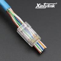 50pcs Rj45 Connector Cat6 Network Connector 8P8C Utp Unshielded Modular Rj45 Plug Terminals Have Hole In