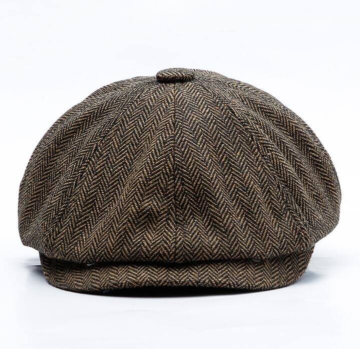 Unisex Autumn Winter Newsboy Caps Men And Women Warm Tweed Octagonal Hat For Male Detective Hats Retro Flat Caps