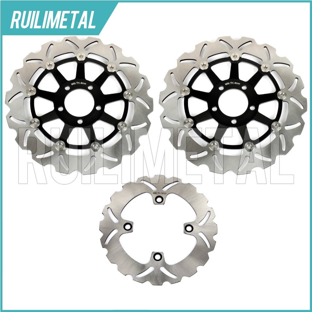 Full Set Front Rear Brake Discs Rotors for Kawasaki ZZR 400 K ZX6R NINJA 95-97 ZZ-R 600 D 90-93 ZR 750 Zephyr 91 99 ZX12R 04-06 rear brake discs rotors for zx7 r rr ninja 750 1989 2003 zxr 750 l r 89 95 zx9 r ninja 94 97 gtr 1000 86 93 zephyr 1100 96 97 98