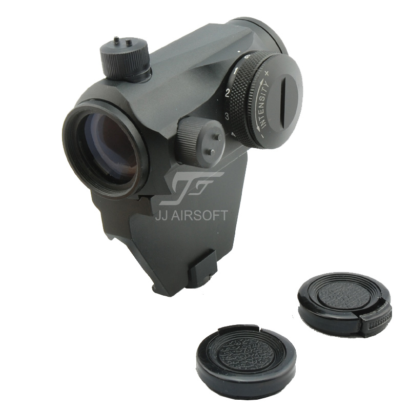 JJ Airsoft Micro 1x24 Red Dot with Offset Rail Mount (Black/Tan) jj airsoft t1 t 1 red dot 45 degree offset mount qd mount and low mount tan