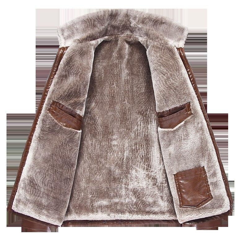Cuero de los hombres de moda casual más terciopelo grueso invierno de mediana edad hombres de cuero breve párrafo chaqueta de cuero solapas 2019 - 4