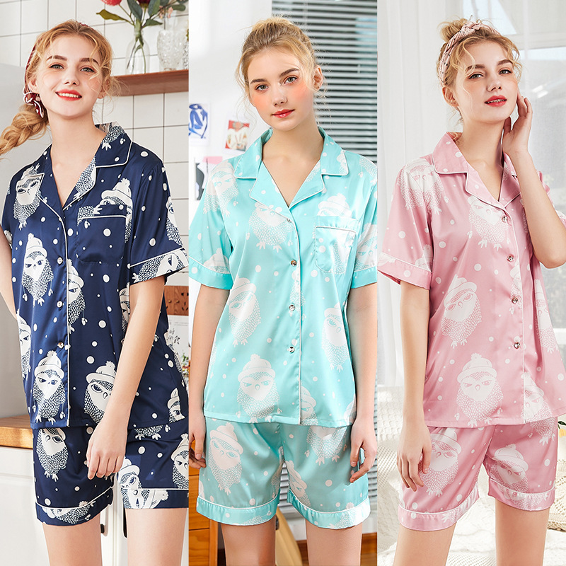 New couple pajamas summer new pineapple short-sleeved shorts two-piece home service - ladies