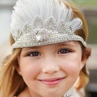 Оптовая продажа со стразами Перо голову для девочки Аксессуары для волос Детская повязка на голову с кристаллами и Перо S 20 шт./лот